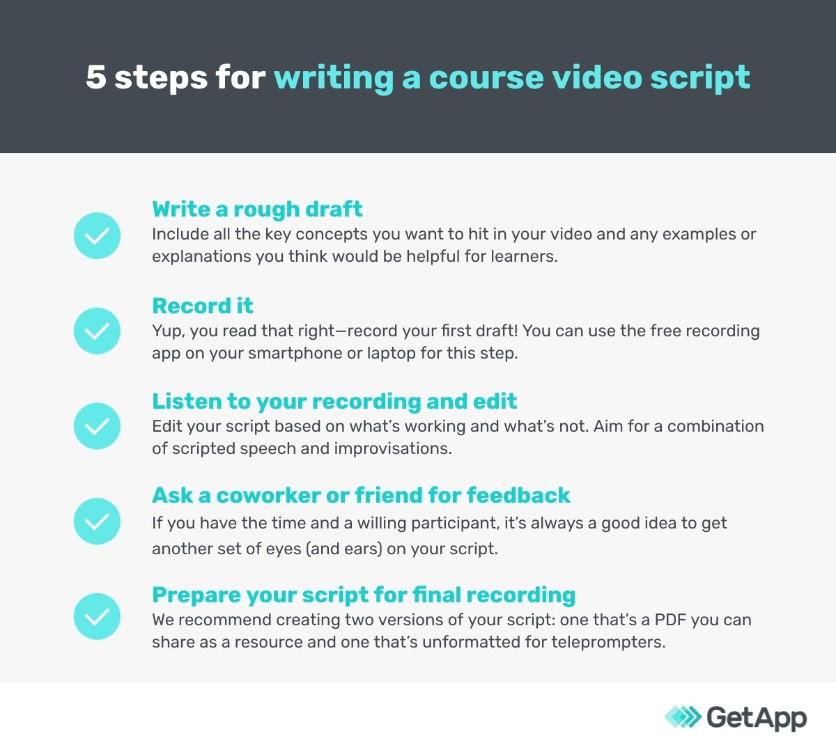 5 steps for writing a course video script