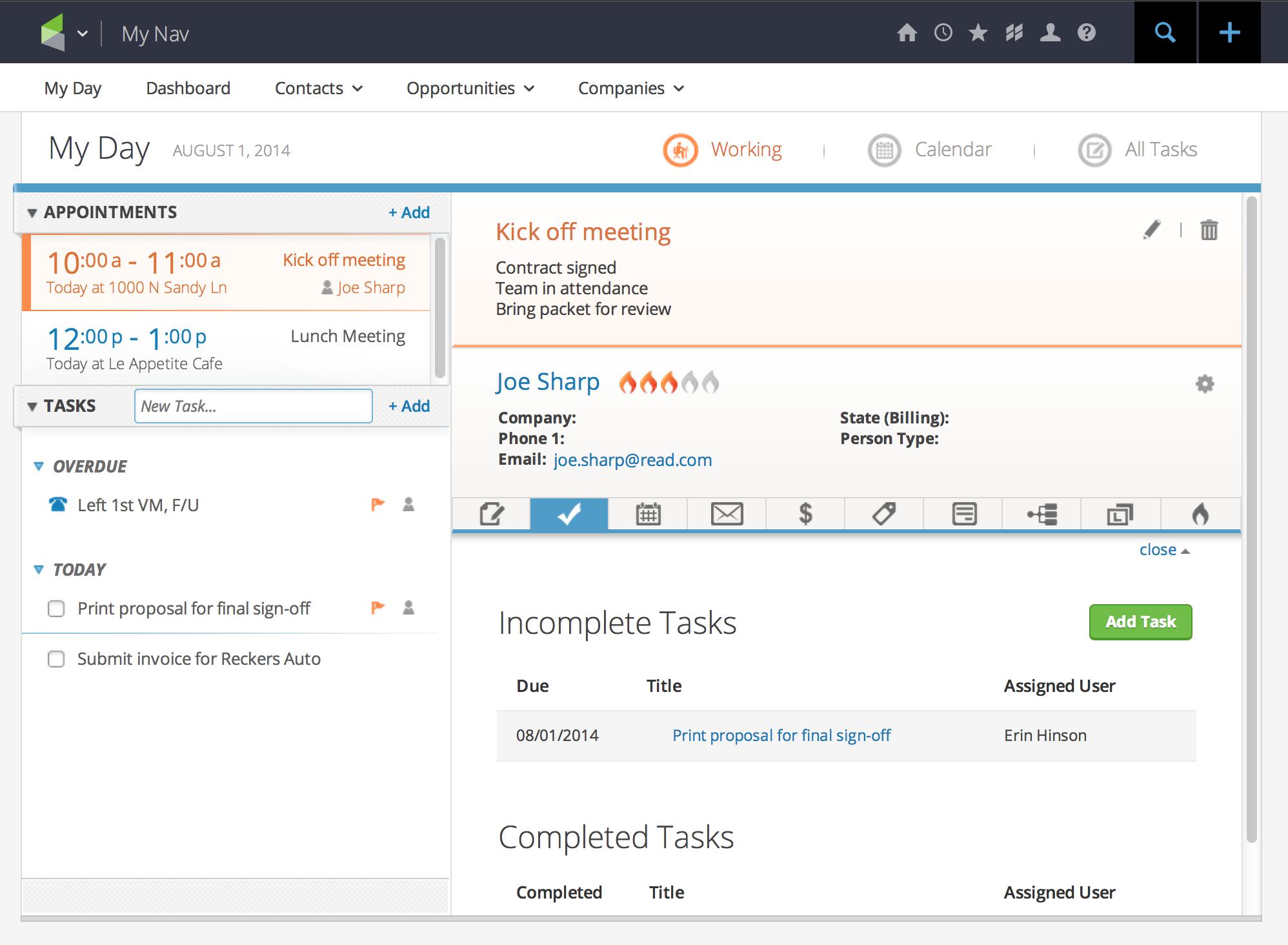 Infusionsoft daily organizer feature screenshot