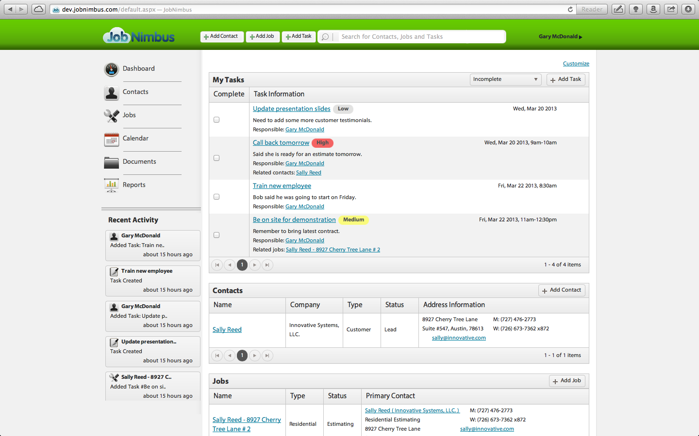 Task dashboard in JobNimbus