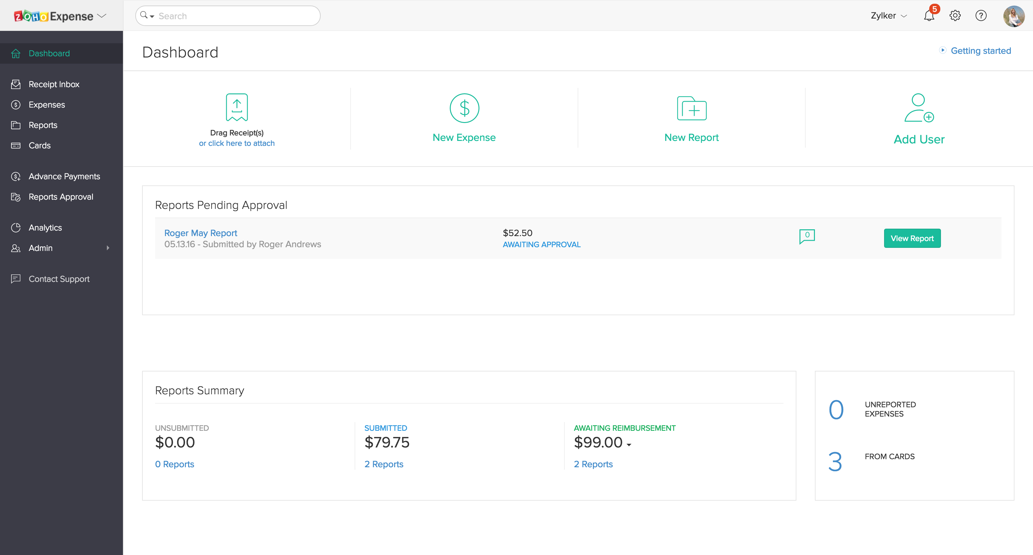 Expense dashboard in Zoho Expense