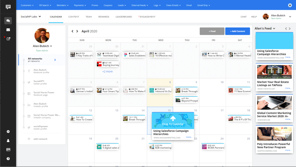 Collaborative content calendar in Social HorsePower