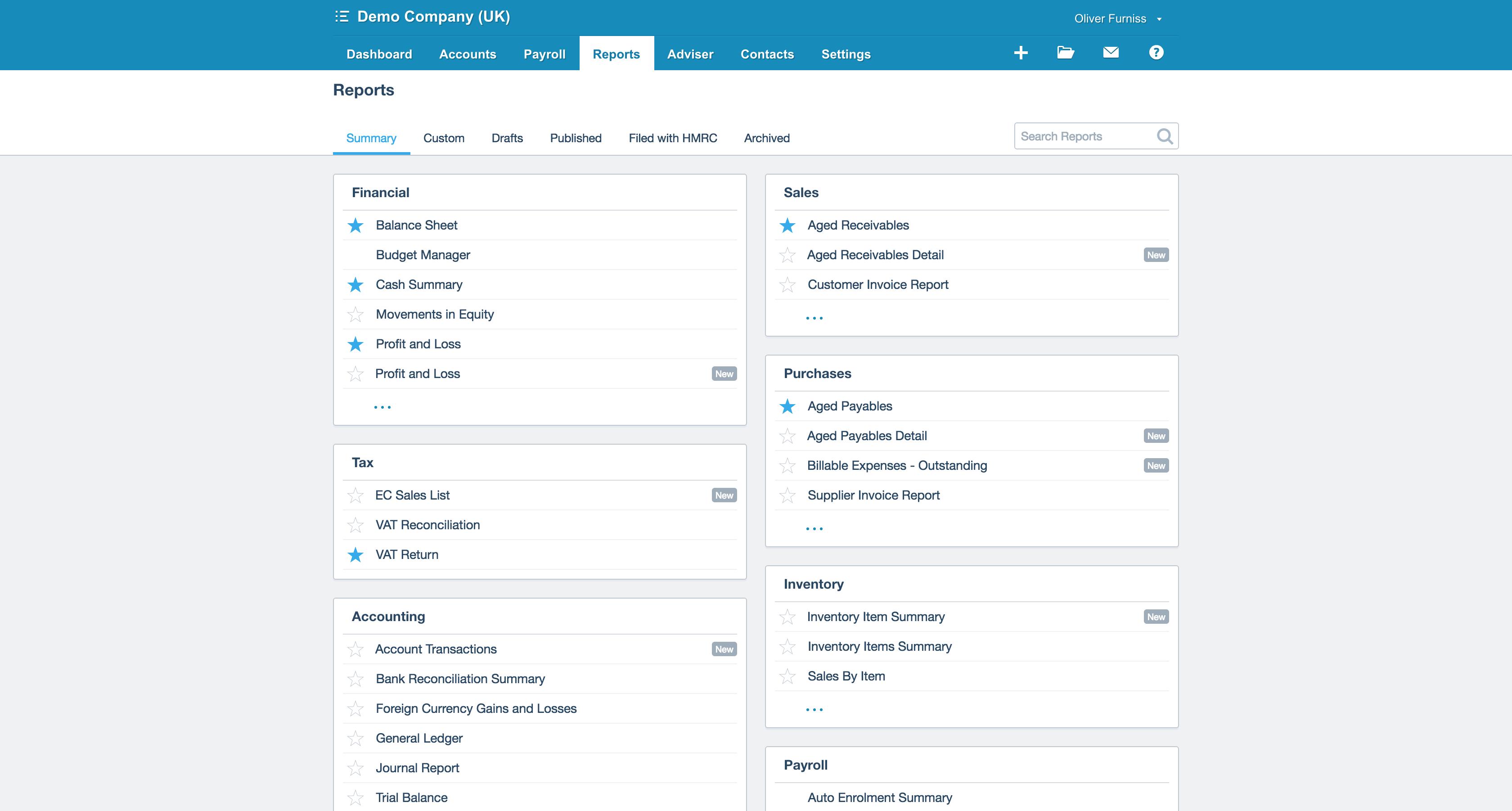 Xero different financial reports screenshot
