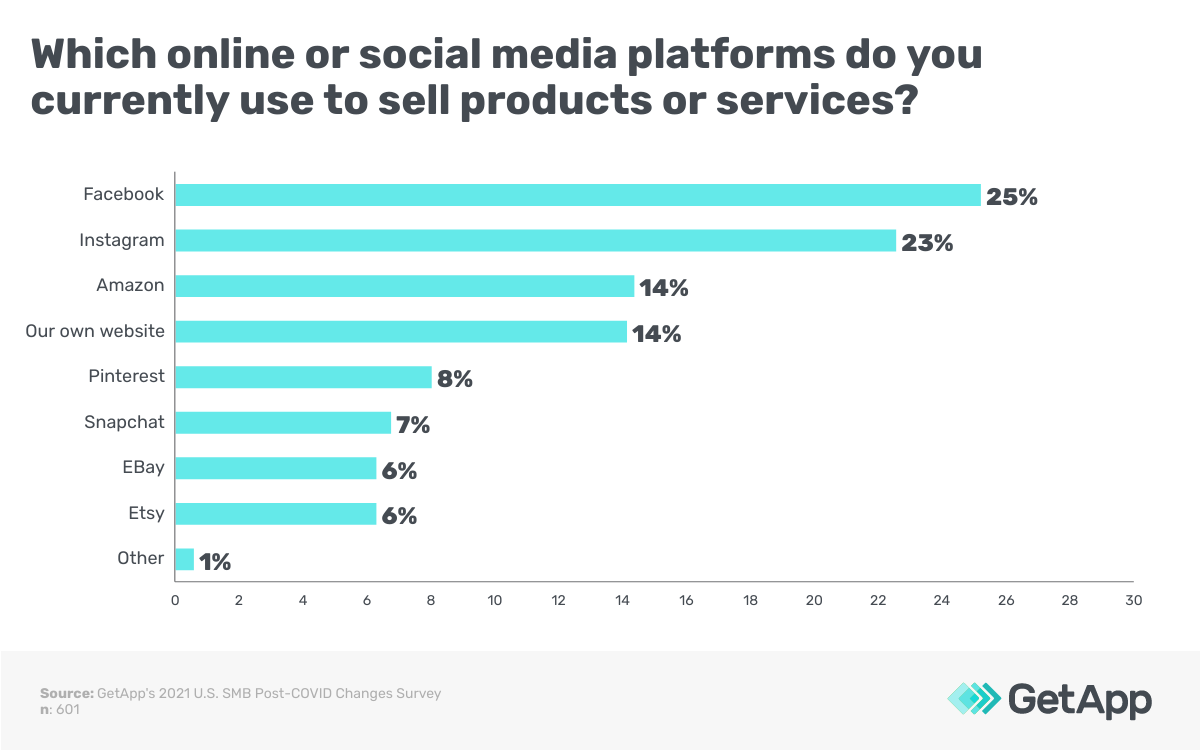Which online or social media platforms do you currently use to sell products or services?