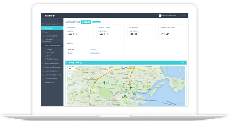 view of the dashboard providing a sales overview in Flipdish software