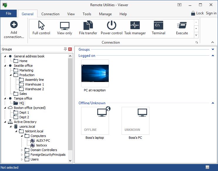 Remote computer access via the admin module of Remote Utilities