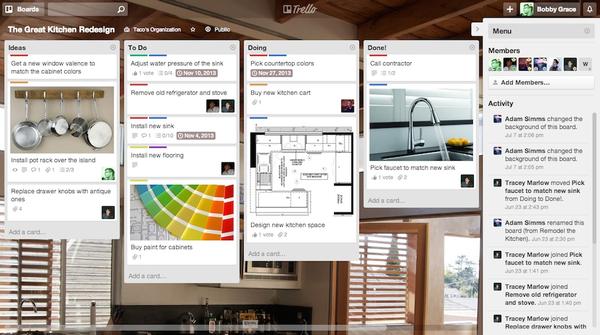 screenshot of Trello collaboration software