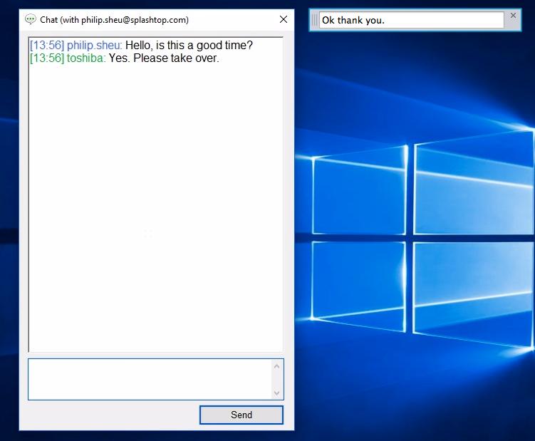 Remote chat support in Splashtop