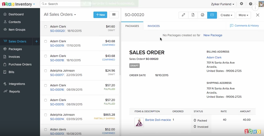 Managing inventory orders in Zoho Inventory