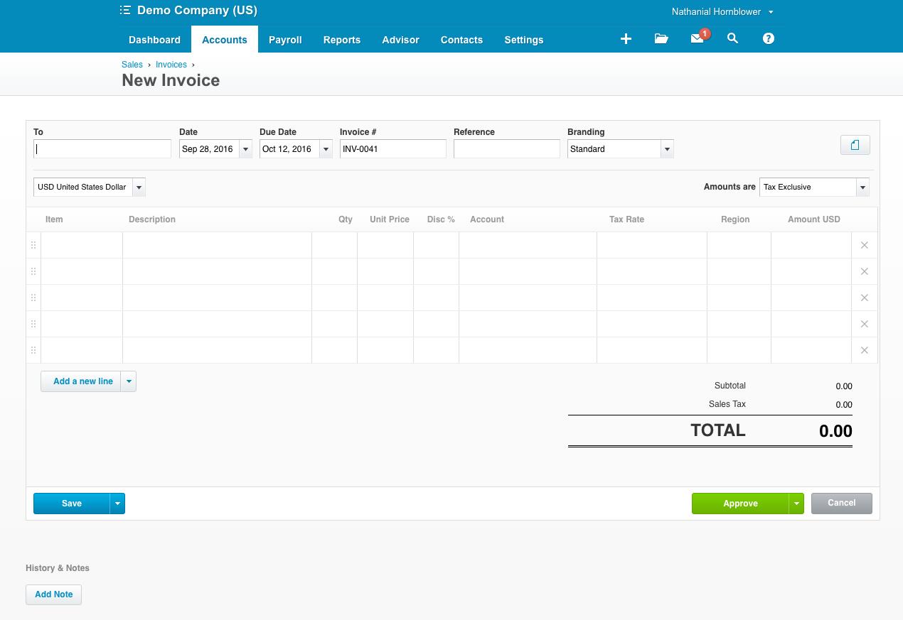 Creating an invoice in Xero