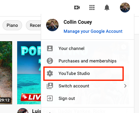 A screenshot of how to get to your YouTube Studio page
