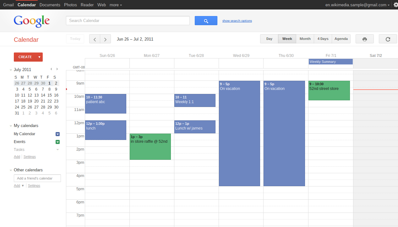 Weekly view of scheduled tasks in Google Calendar