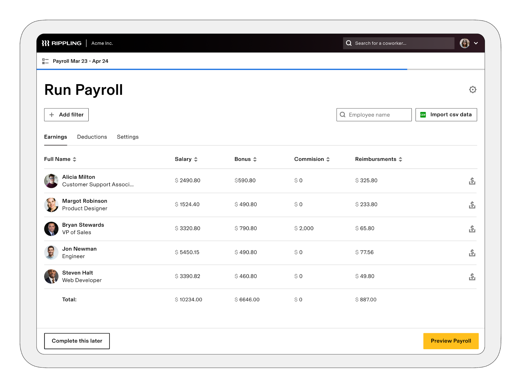 Managing employee payroll in Rippling
