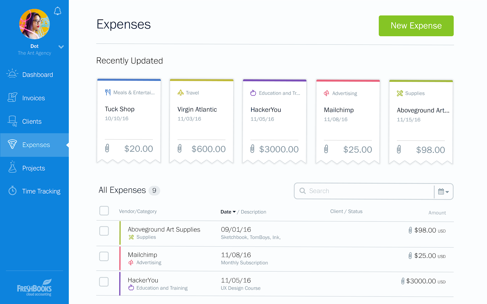 Record and track expenses in FreshBooks