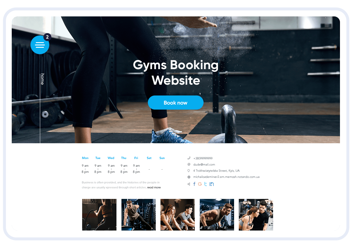 gym booking website template offered by the SimplyBook.me software system