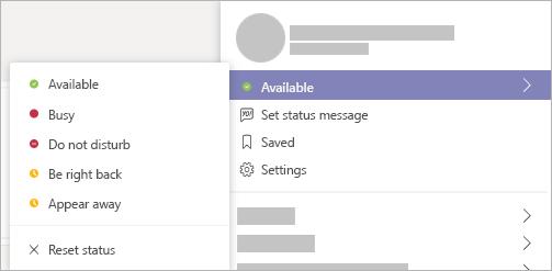 Setting status on Microsoft Teams