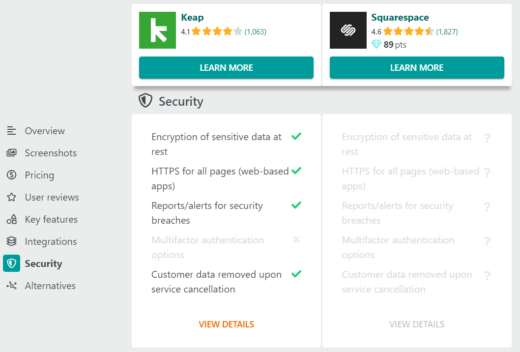 Comparison of security features between Keap and Squarespace