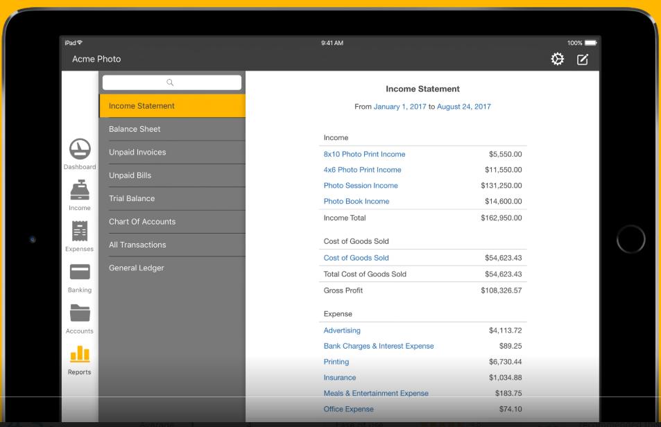 Kashoo financial reporting dashboard screenshot