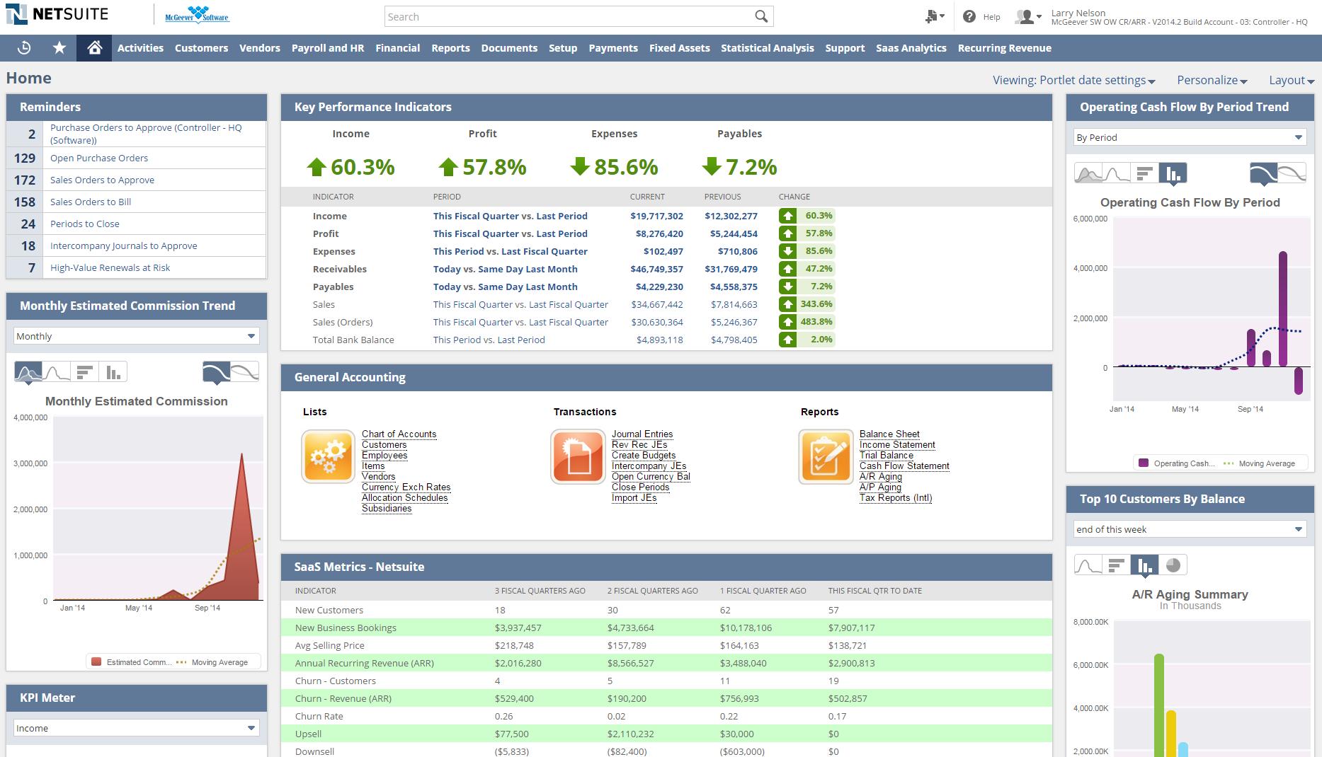 NetSuite accounting dashboard screenshot
