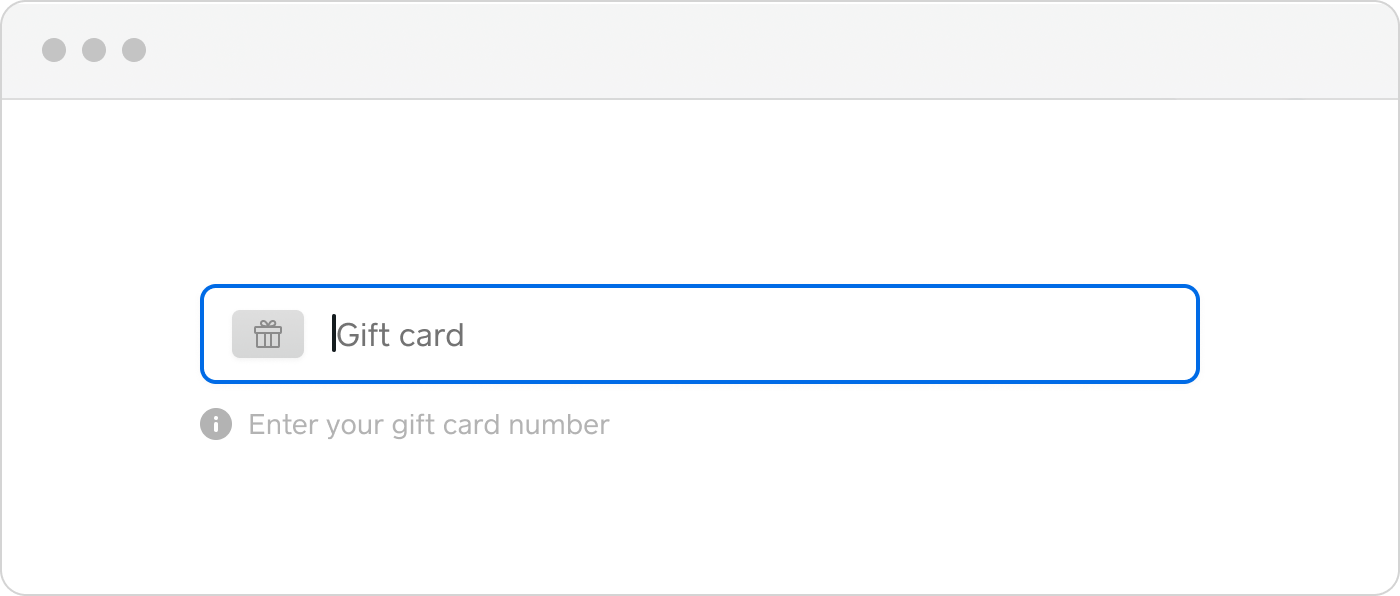 web payments : gift card :hero