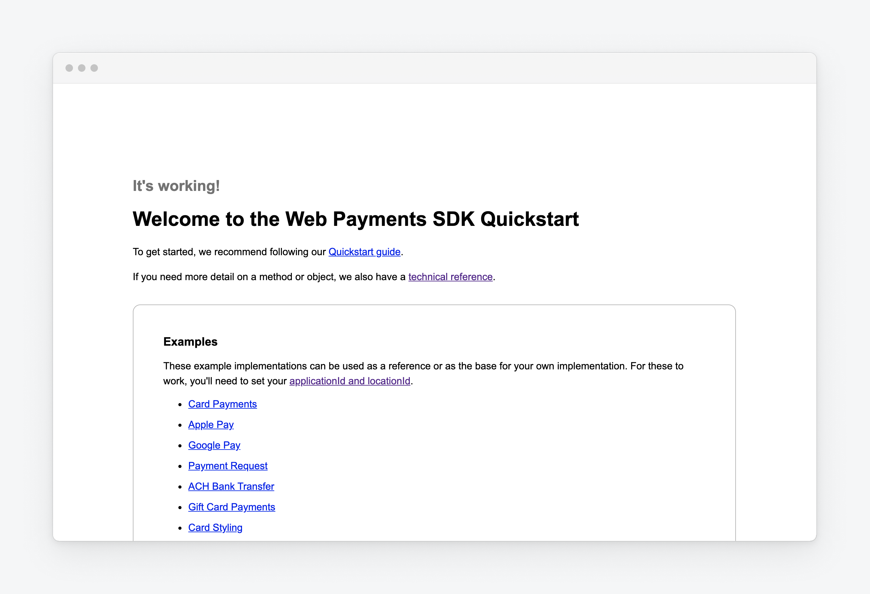 web payments sample hello world