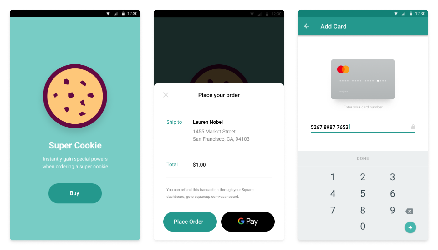 Trio of screenshots from the In-App Payments SDK Android sample app
