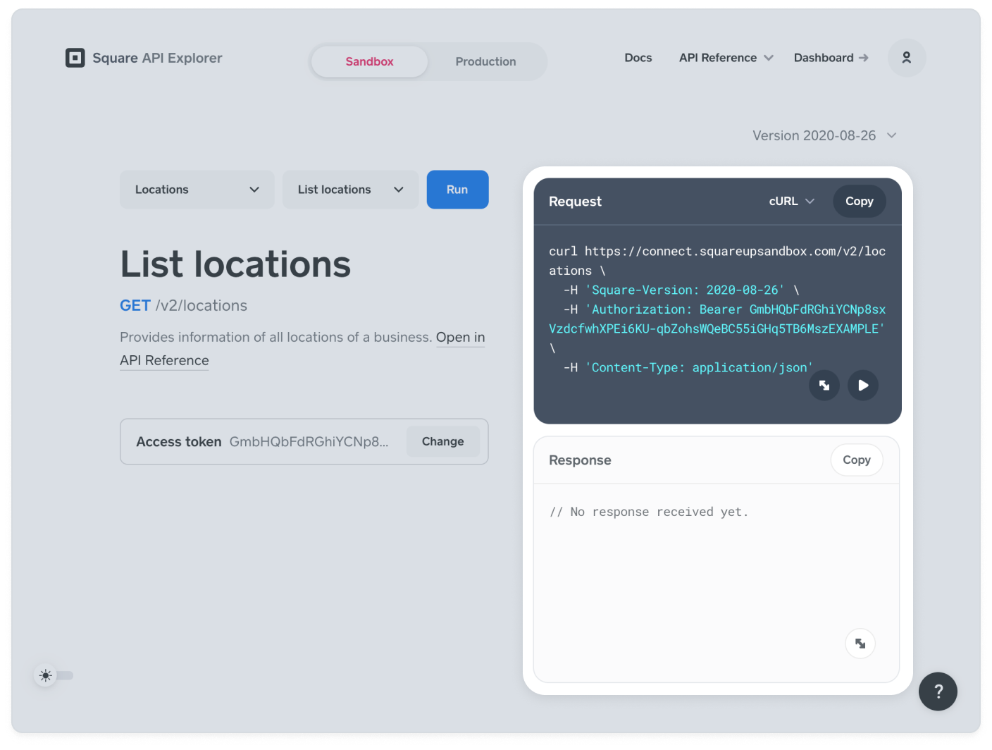 "The ""List locations"" endpoint selected in API Explorer"
