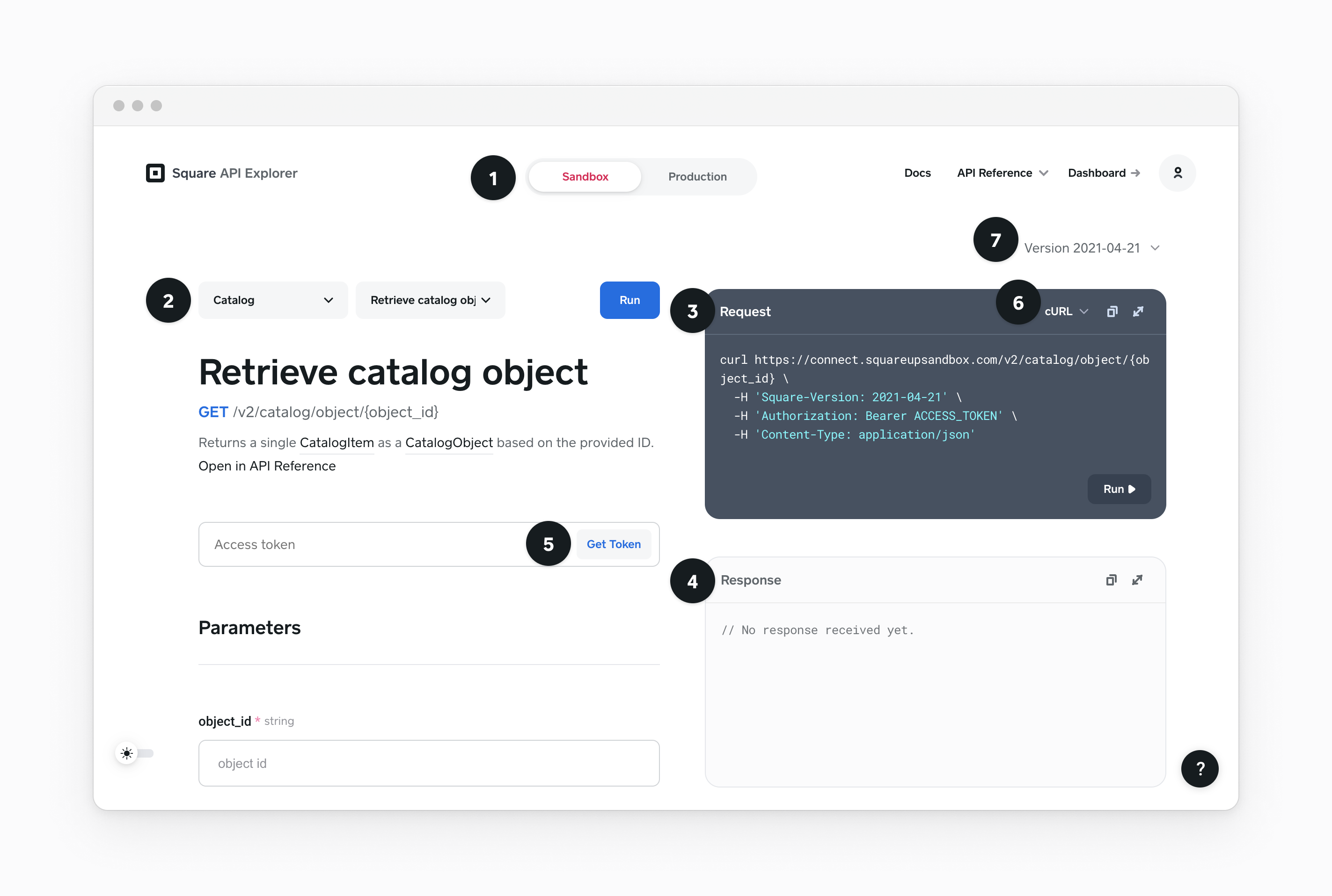 API Explorer with numbered callouts for several features