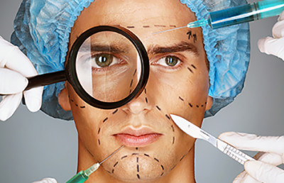 Man getting multiple cosmetic treatments