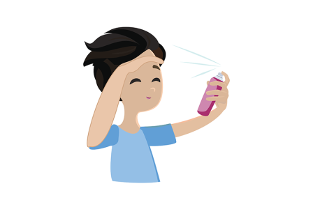 Illustration of a young child spraying hair spray