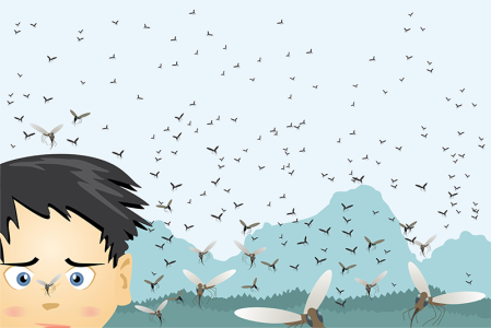 illustration of lots of insects bugging boy
