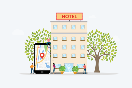 Illustration of a hotel