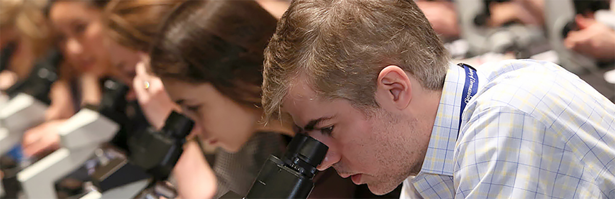 Young dermatologists looking into microscopes