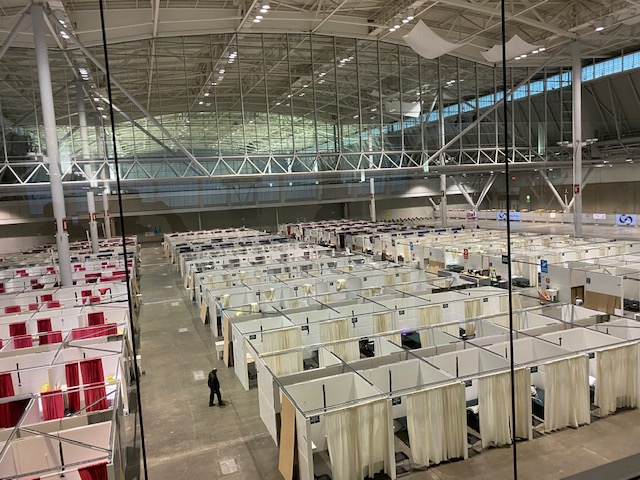 The Boston Hope field hospital was constructed inside the Boston Convention and Exhibition Center.