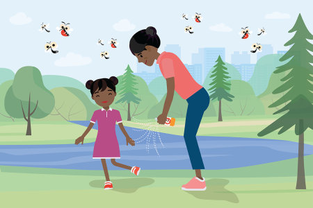 illustration of mother using bug spray on daughter