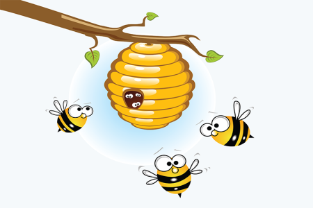 illustration of bees at a hive