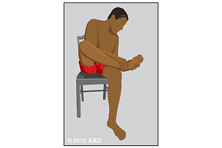 Illustration of a person examining their feet for signs of skin cancer