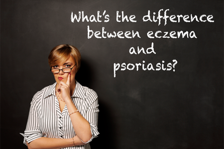 Lady in front of a chalkboard wondering about the difference between eczema and psoriasis