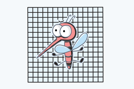 Illustration of mosquito at screen