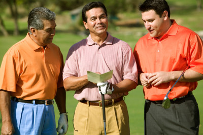 three men on golf course