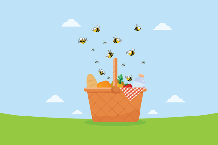 illustration of bees at picnic basket