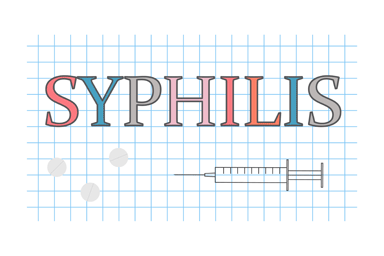 Syphilis word on graph paper background