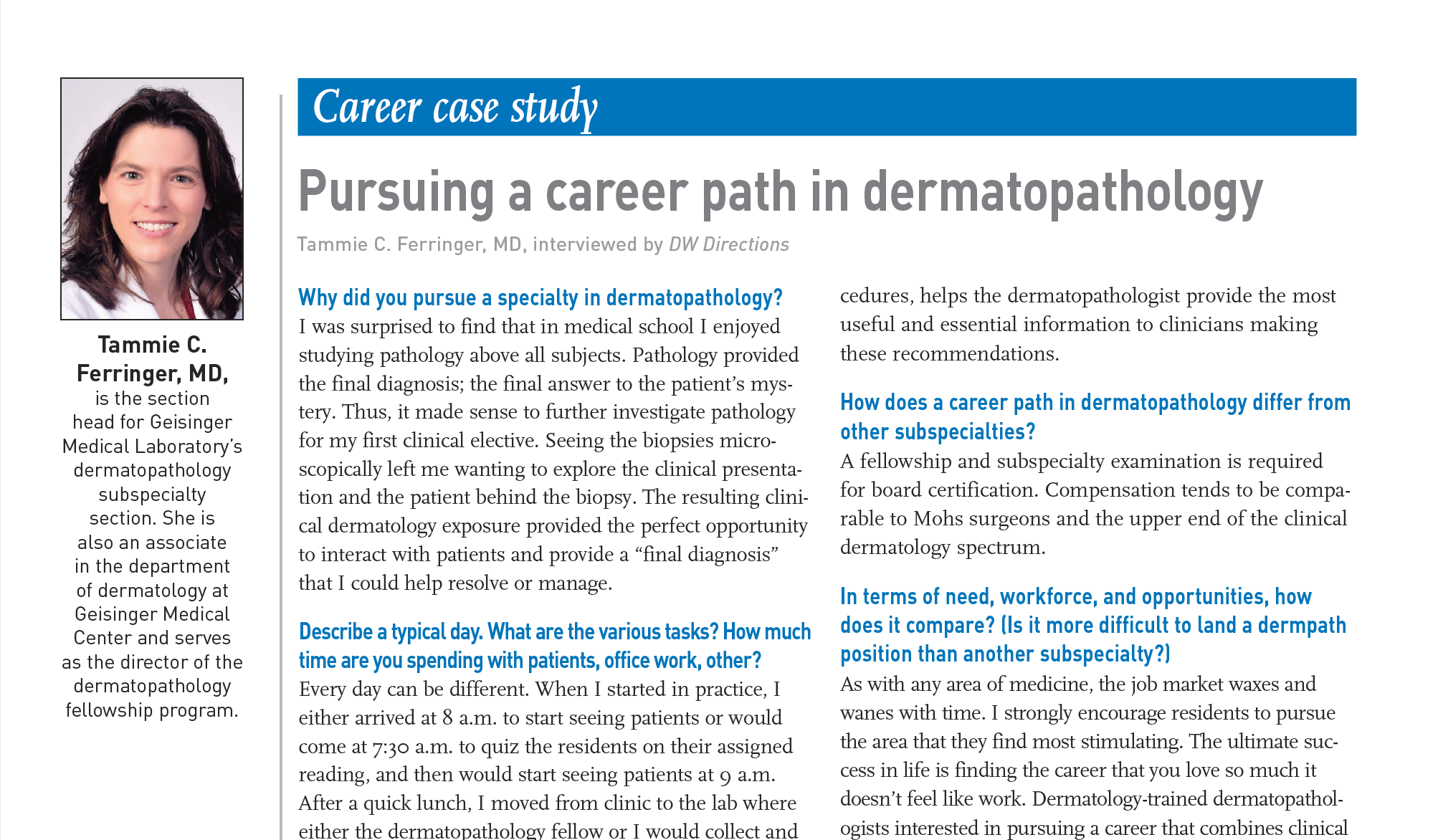 Image of dermatopathology career case study