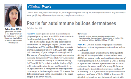 Illustration for autoimmune bullous dermatoses Clinical Pearl