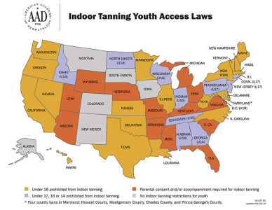United States indoor tanning map, states with indoor tanning youth access laws