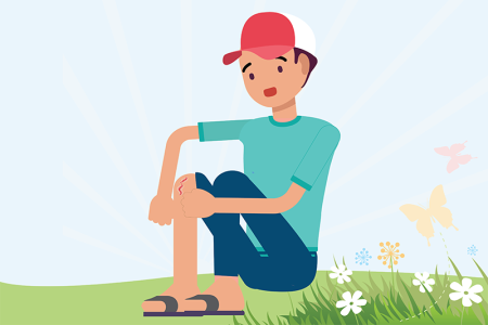 illustration of boy with knee injury