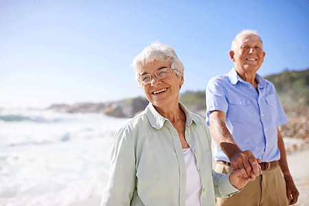 Shot of a happy elderly couple on the beach
