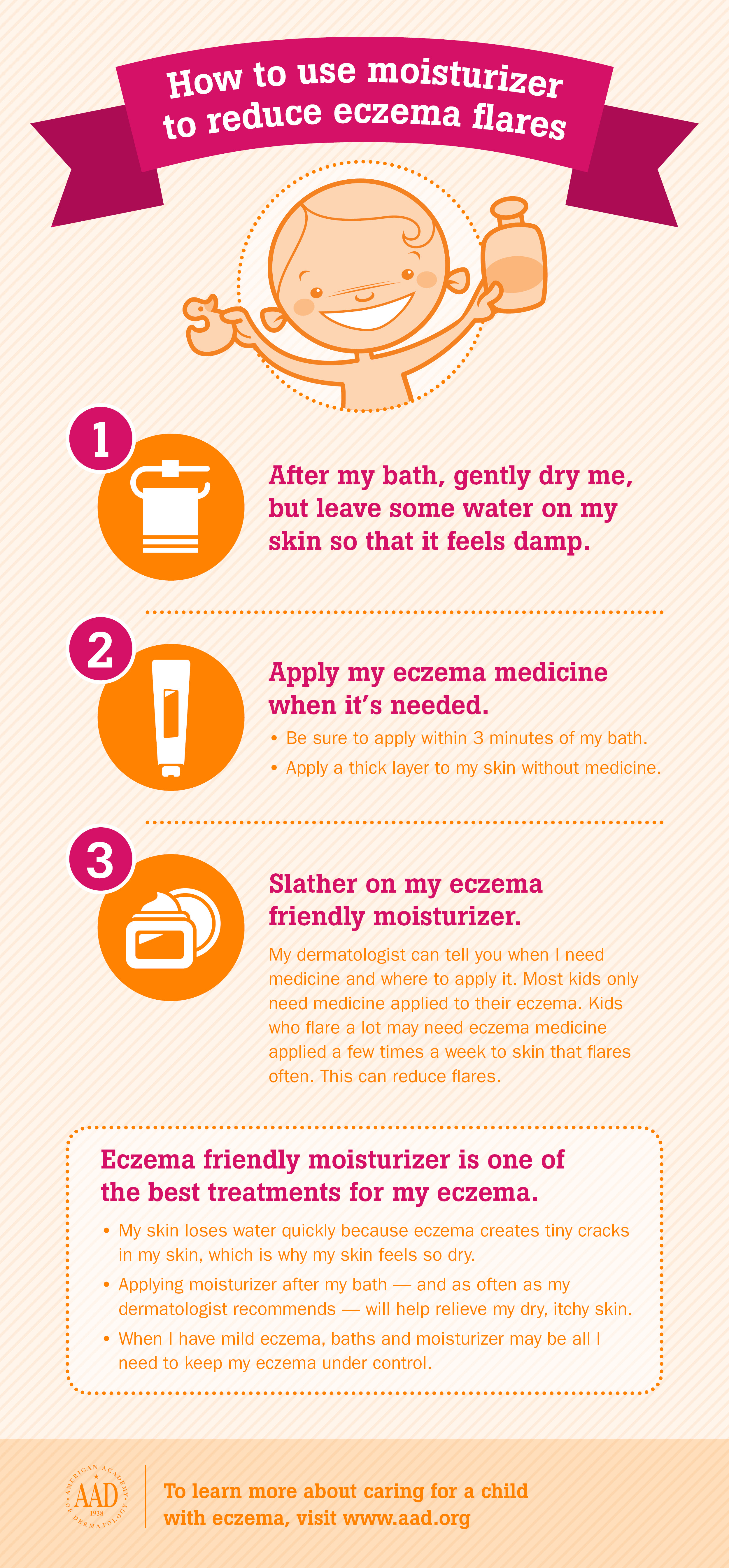 How to use moisturizer to reduce eczema flares infographic