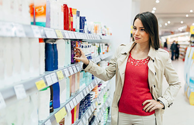 Woman shopping for eczema products