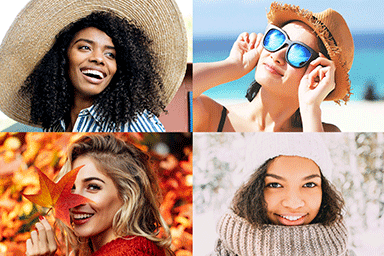 Collage of women wearing clothing to protect their skin from the sun