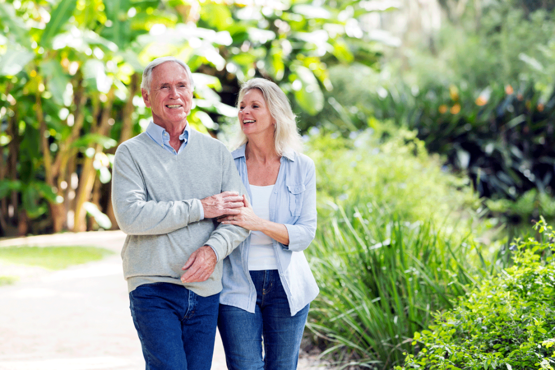 Portrait of senior couple walking together in the park
